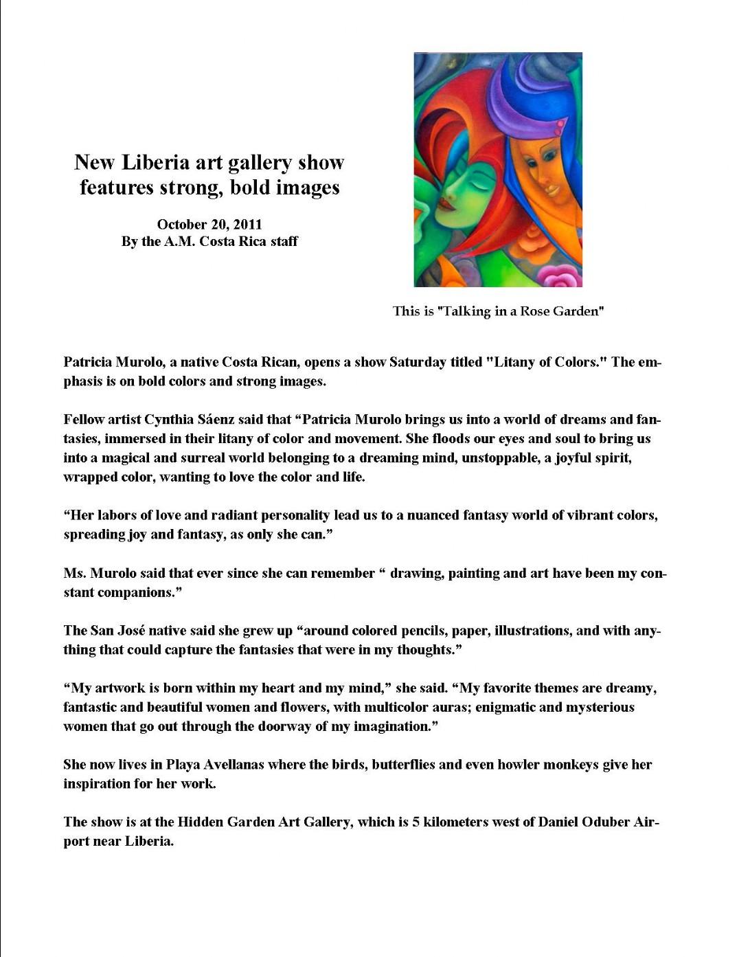 October 20, 2011: Patricia Murolu - Hidden Garden Art
