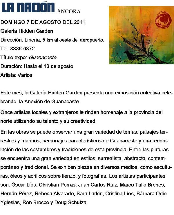 Hidden Garden Art Gallery, La Nacion, Ancora, Guanacaste Collective